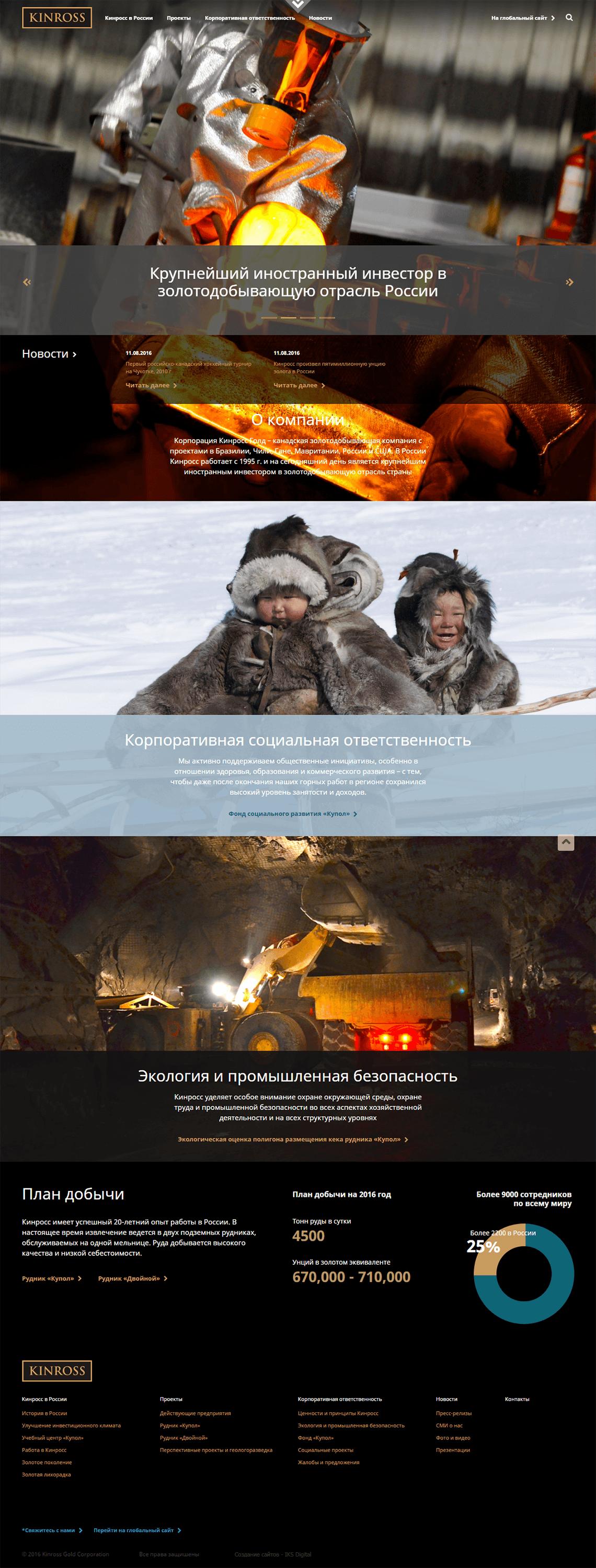 создание корпоративного сайта для канадской золотодобывающей компании Кинросс